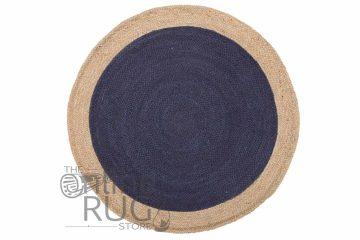 Polo Navy Blue Jute Round