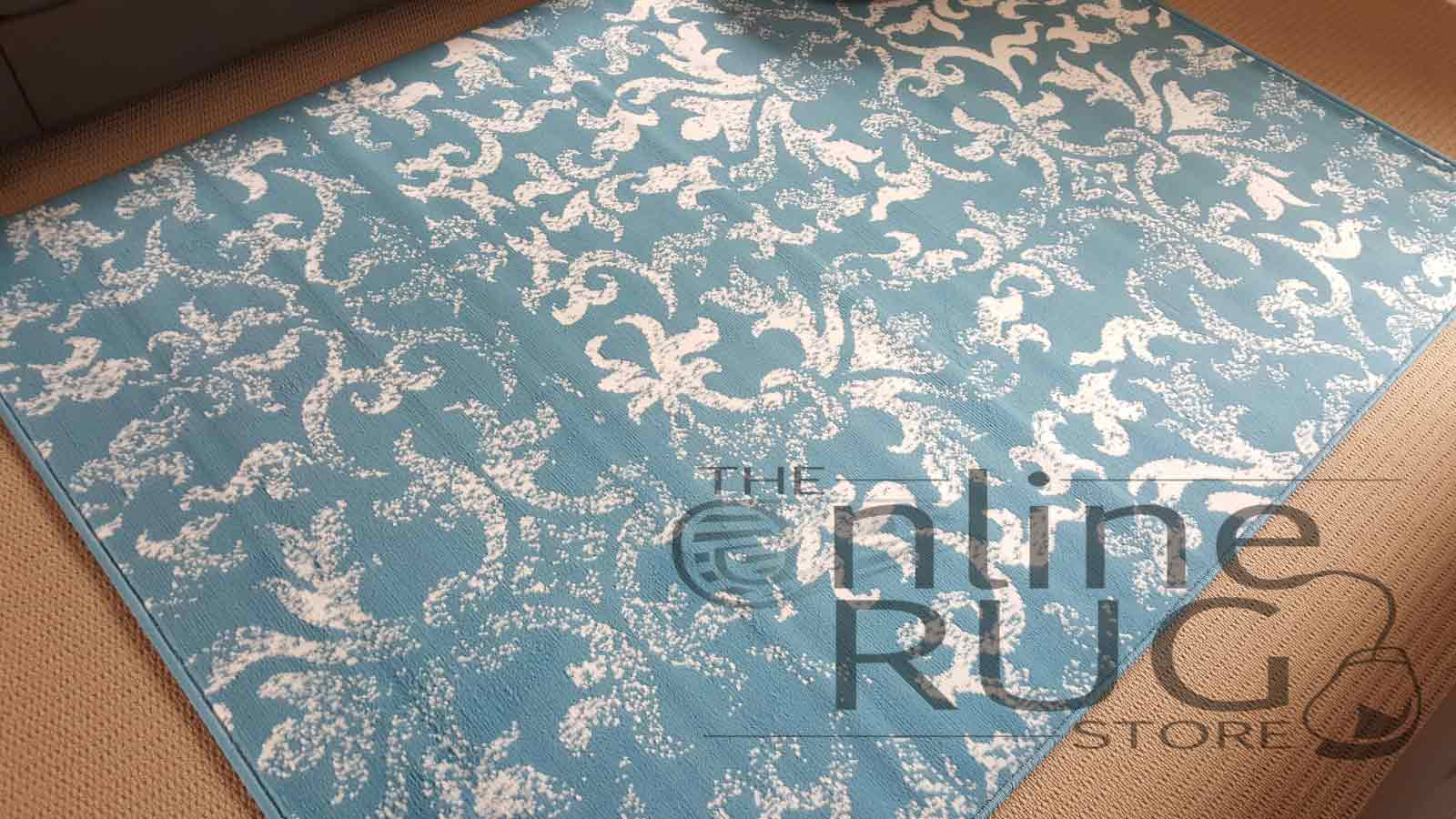 Studious Blue White Classic French Damask