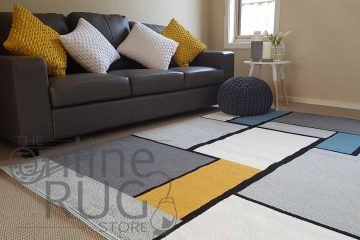 Grey Blue Yellow Tile Pattern