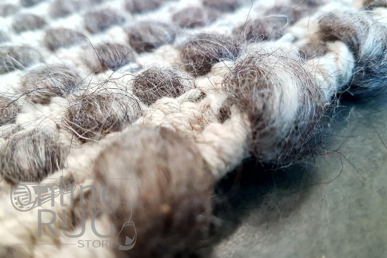 Brown Scandinavian Felted Wool Rug