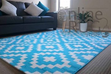 Teal White Geo Diamond Rug