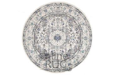 Awaken White Grey Power Loomed Round Rug