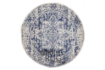 Awaken Navy White Power Loomed Round Rug