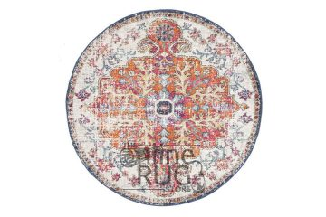 Awaken White Orange Power Loomed Round Rug