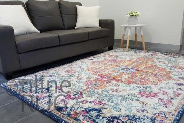 White Orange Power Loomed Rug