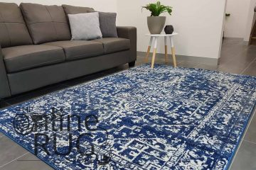 Awaken Navy Blue Power Loomed Rug