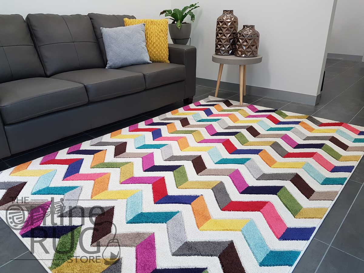 Candy Crush Rainbow Cream Herringbone