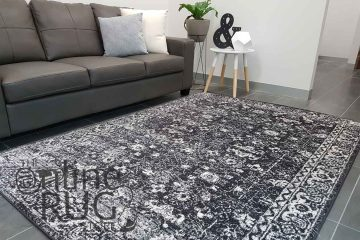 Awaken Charcoal Overdyed Power Loomed Rug