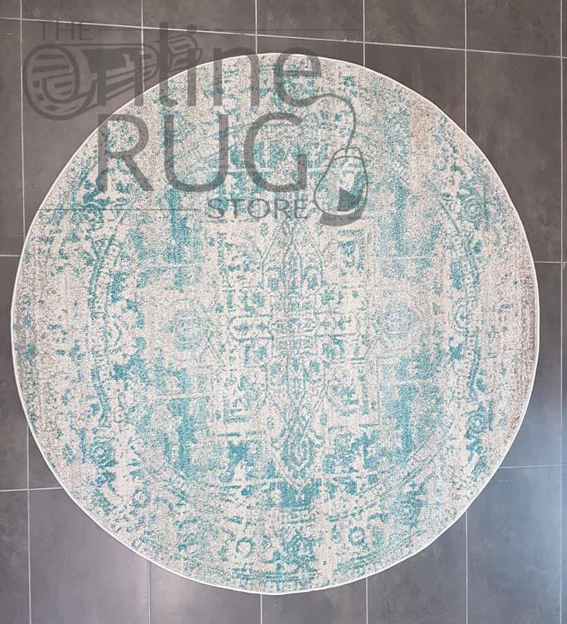 Awaken White Blue Power Loomed Round Rug