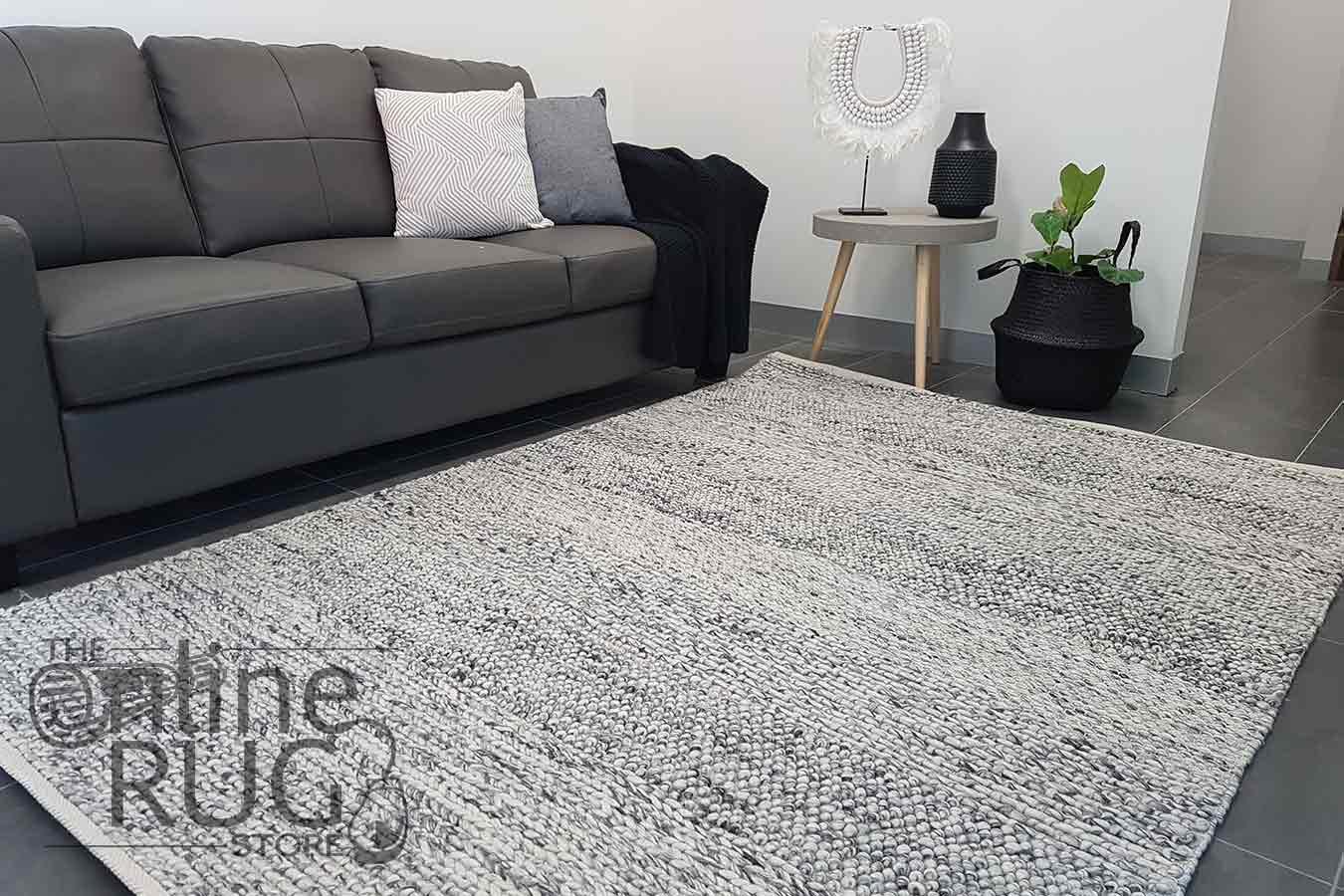 Essence Armani Multi Weave Grey Felted Wool Rug