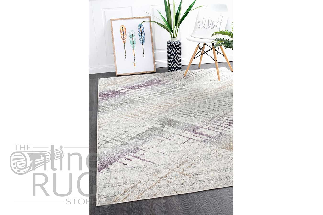 Aspire Purple Abstract Canvas Rug