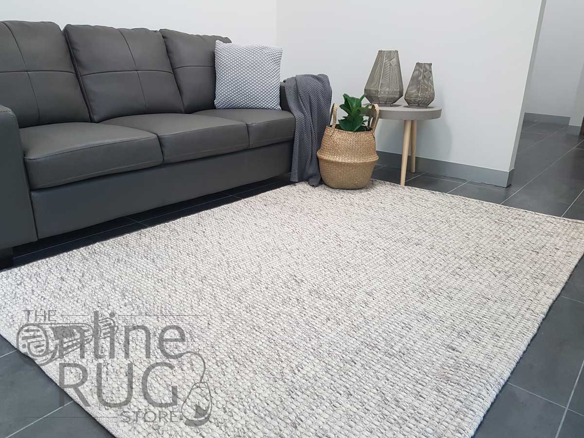 Darcy Light Grey Felted Wool Rug
