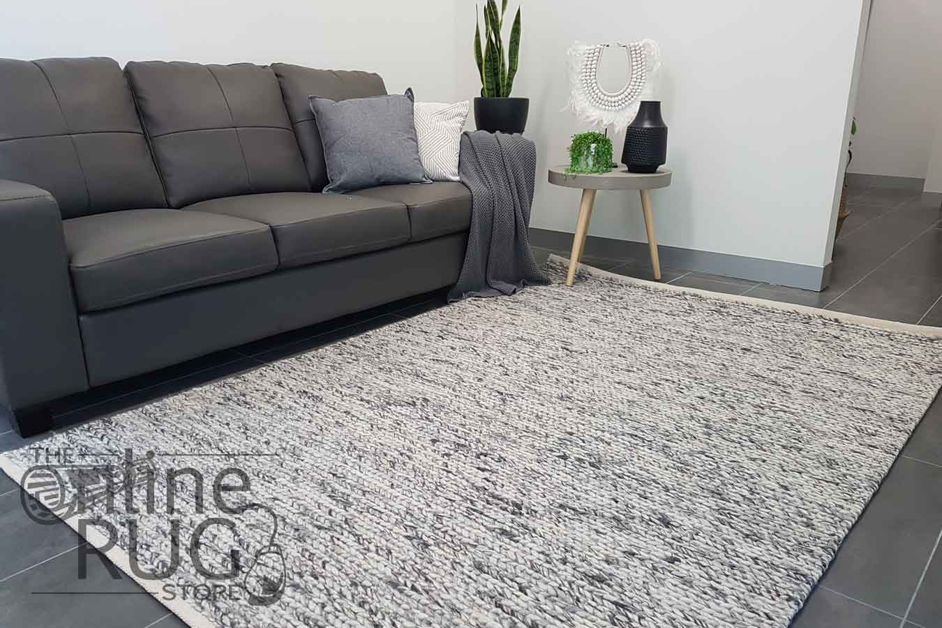 Essence Astrid Weave Grey Felted Wool Rug