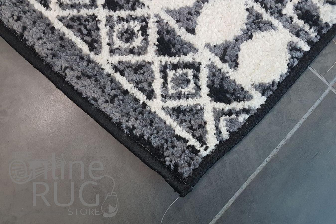 Festival Black White Tribal Pattern Rug