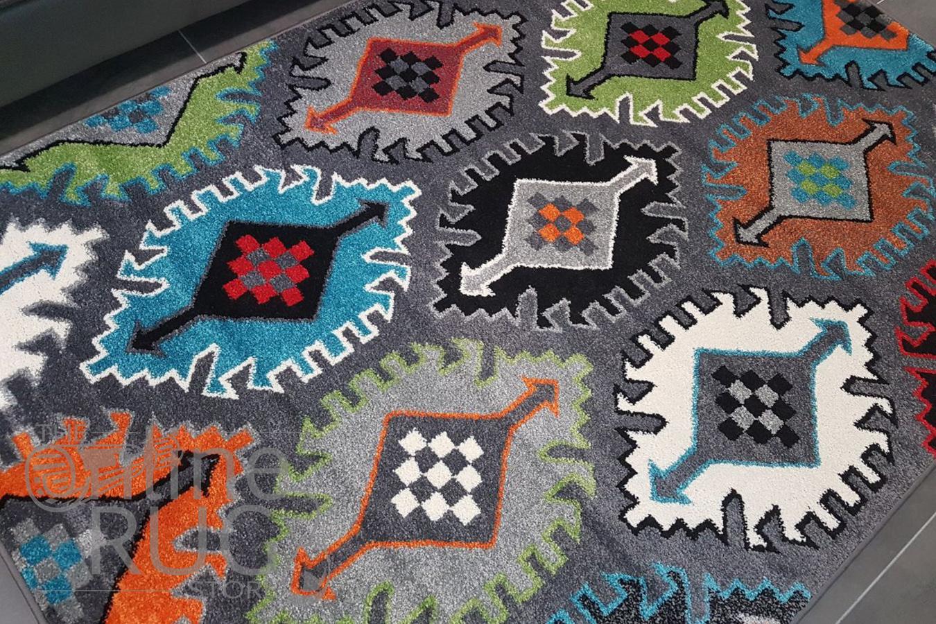Festival Grey Multicoloured Ethnic Rug