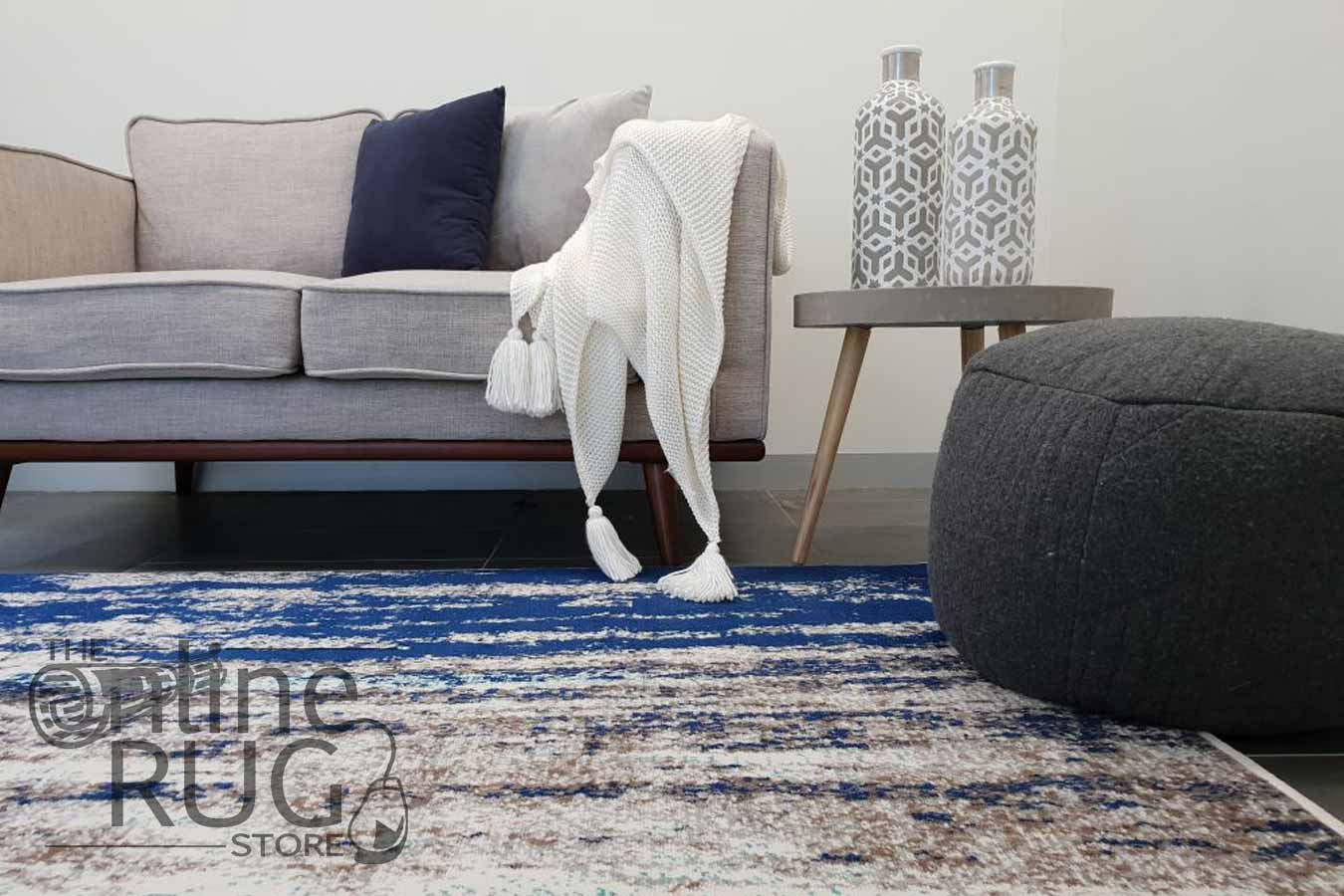 Austine Blue Canvas Abstract Pattern Rug
