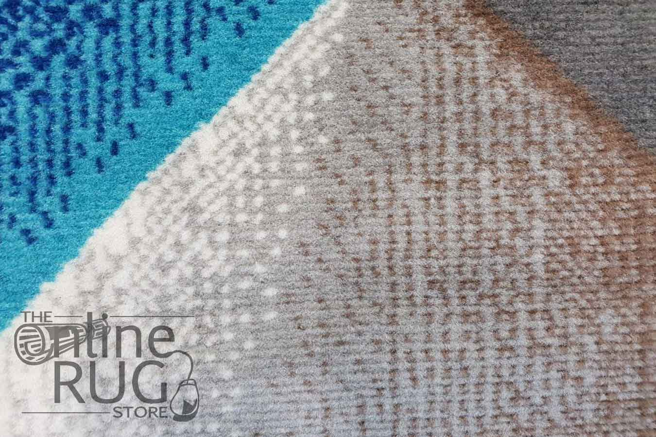 Austine Blue Abstract Diamond Pattern Rug