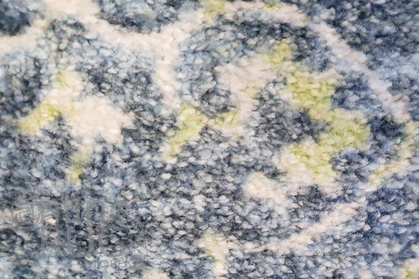 Metro Yellow Blue Grey Ikat Pattern Rug