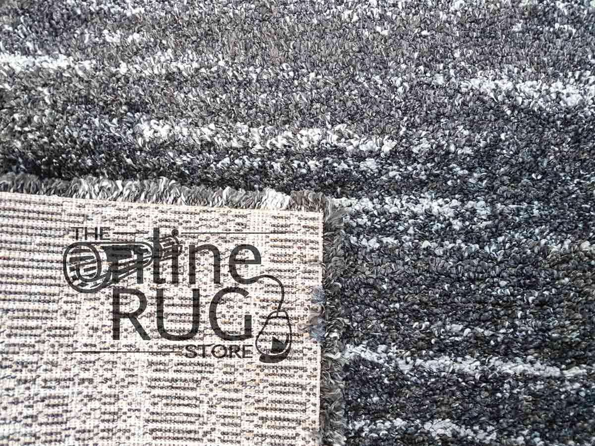 Thibet Dark Grey White Stripe Lines Rug