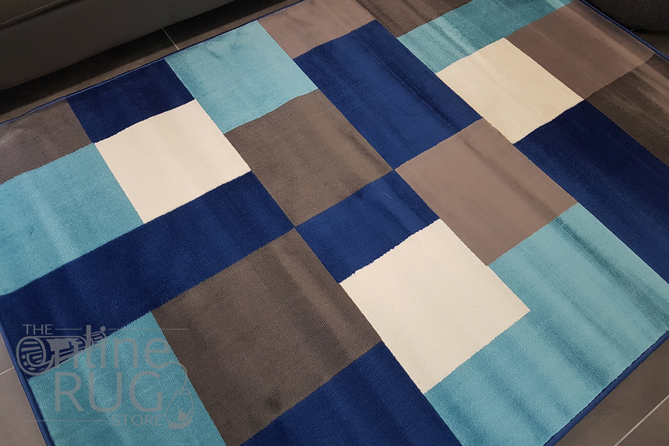 Industry Blue Multicoloured Tiles Rug