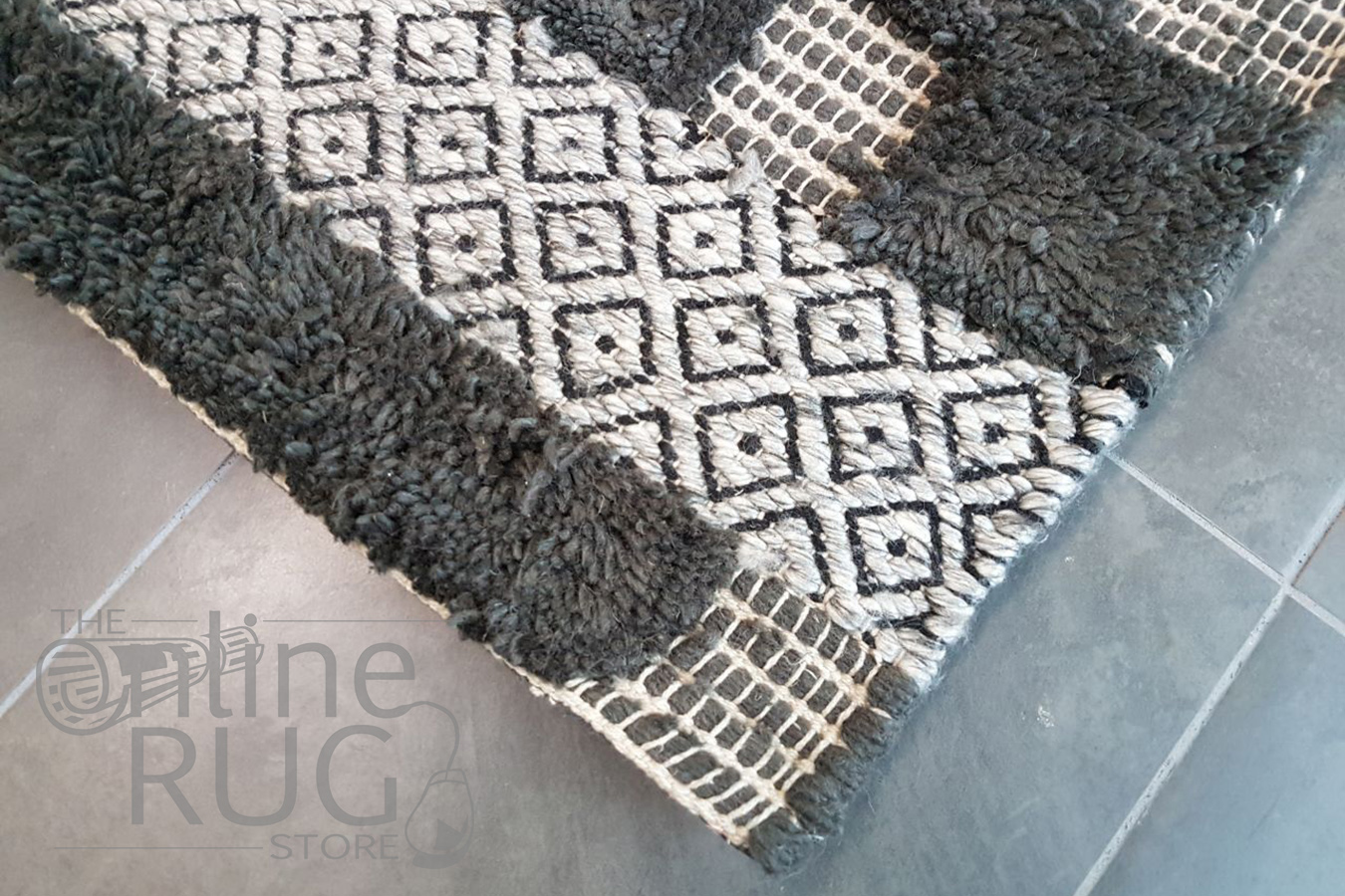 Bohemian Charcoal Hand-Loomed Textured Rug