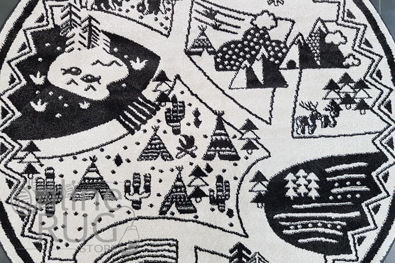 Bambino Black White Tribal Camp Pattern Round Rug