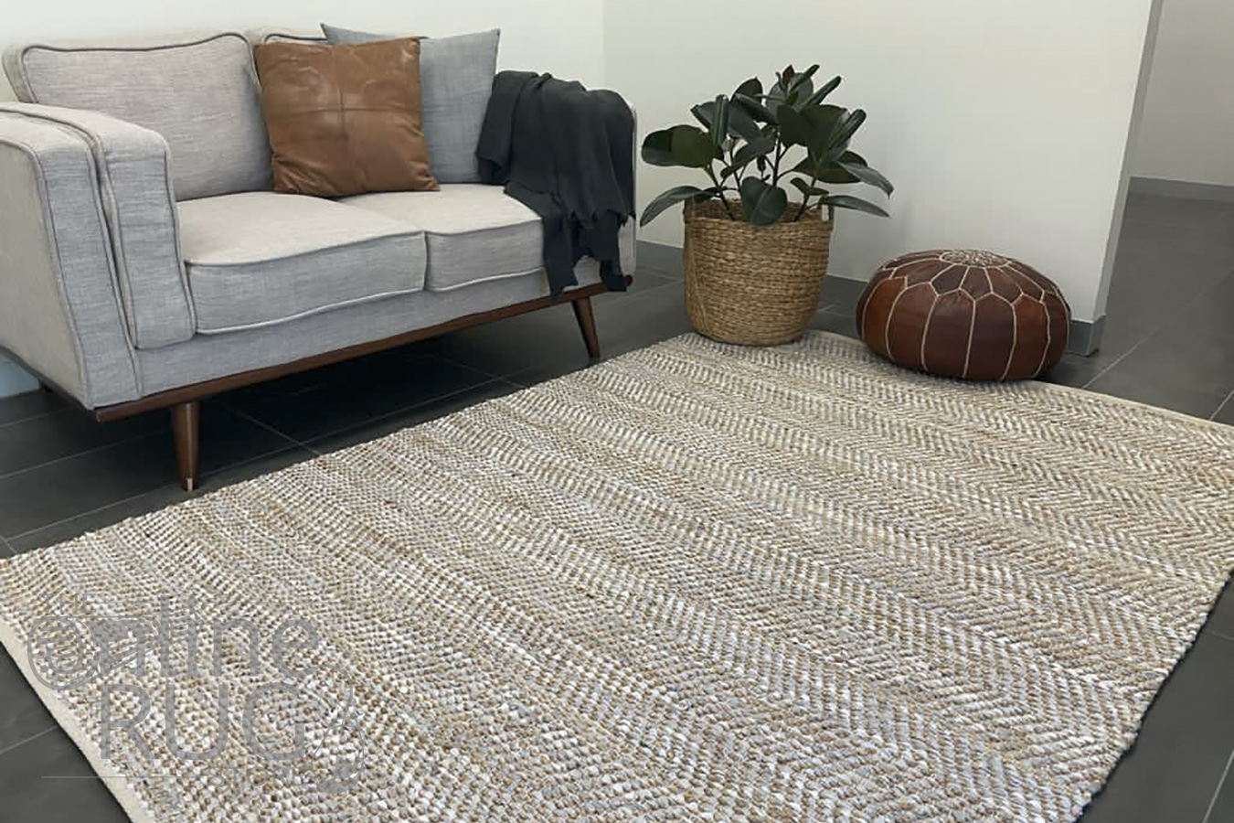 Rustic Natural White Hand Woven Rug