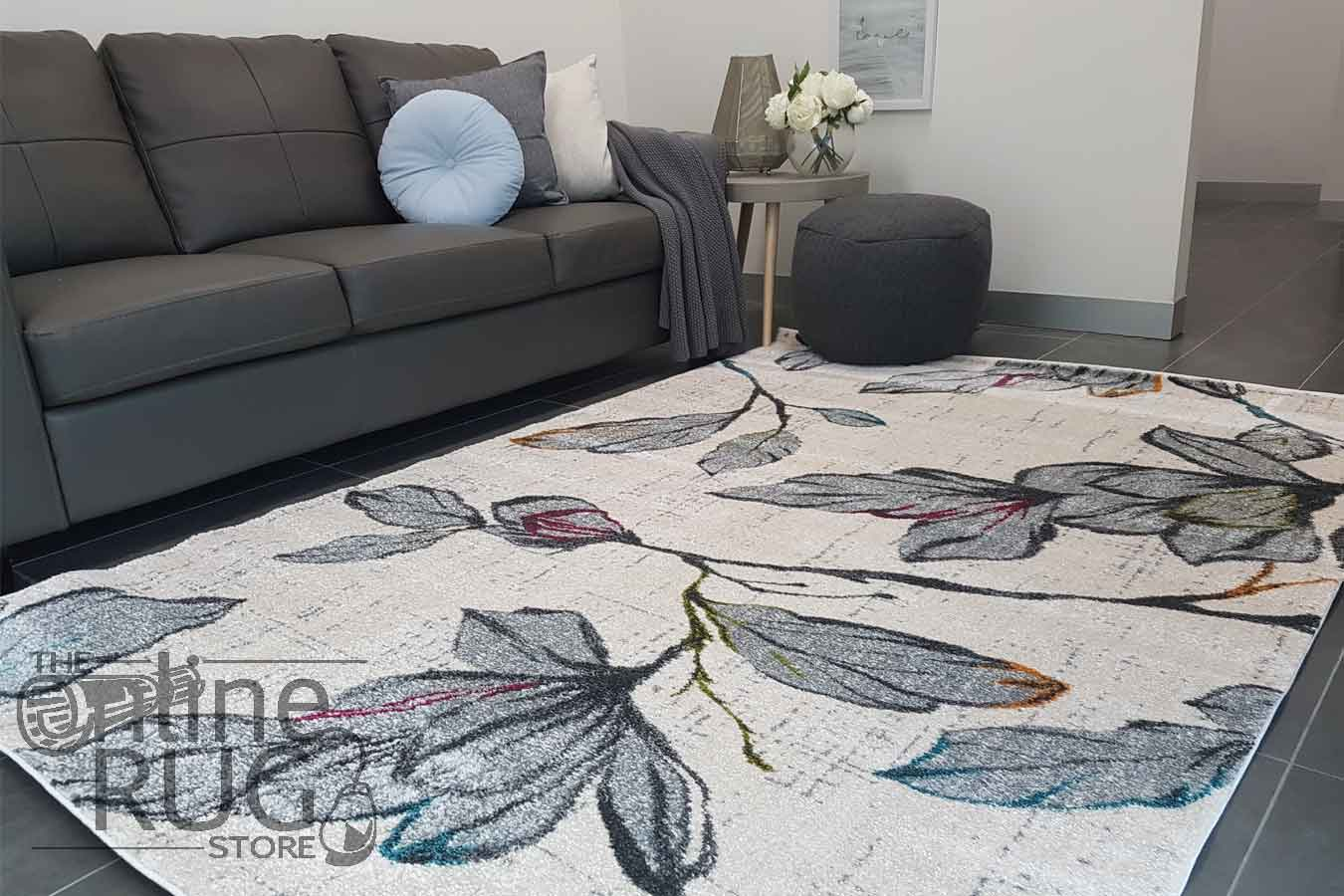 Space Natural White Floral Abstract Rug