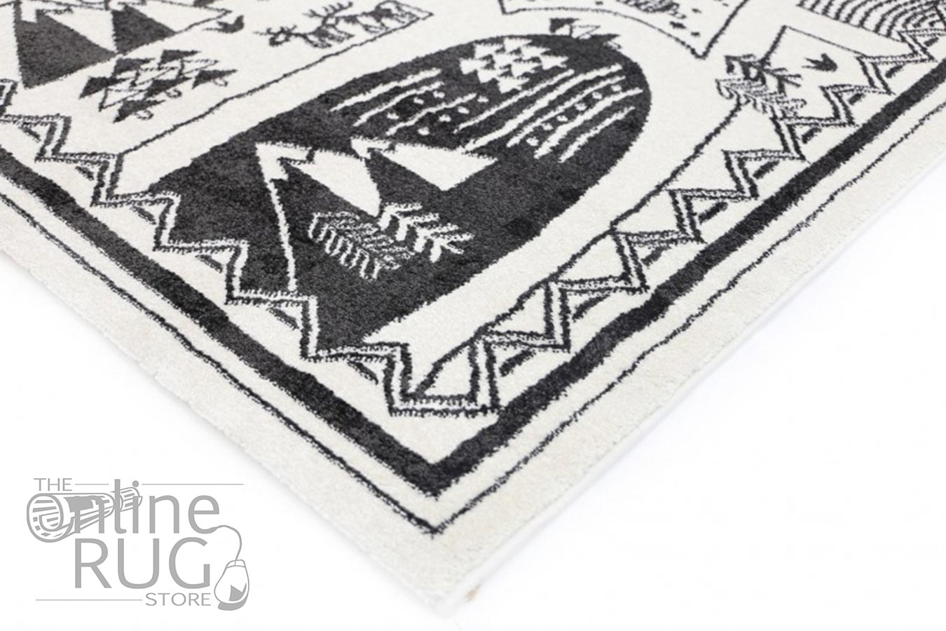 Bambino Black White Tribal Camp Pattern Rug