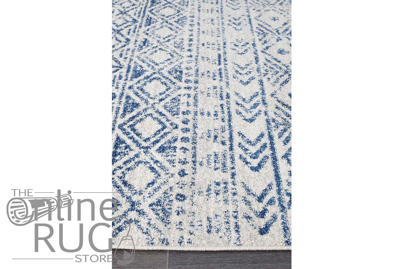 Heaven Blue White Tribal Diamond Rug