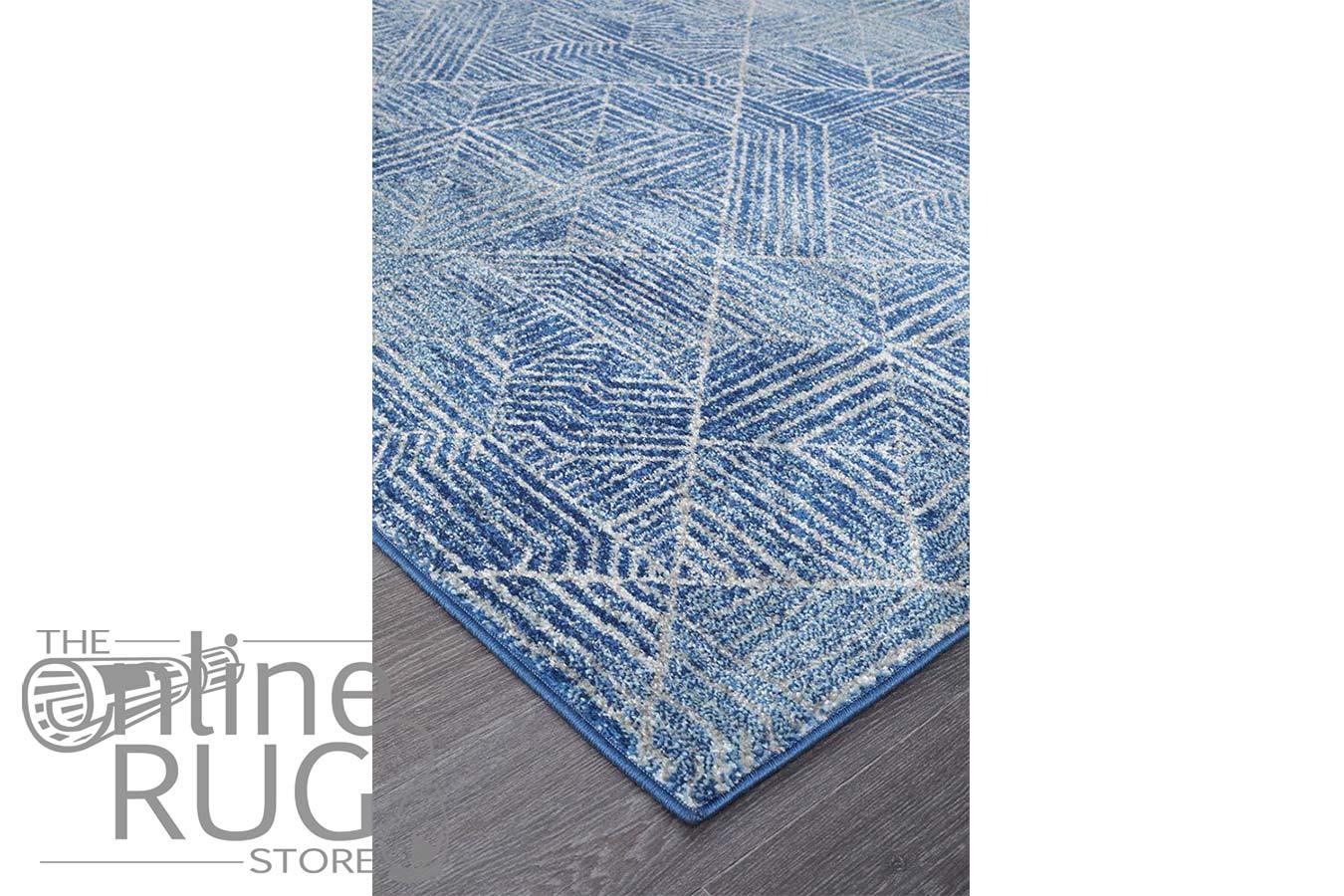 Heaven Navy Blue Geometric Diamond Rug