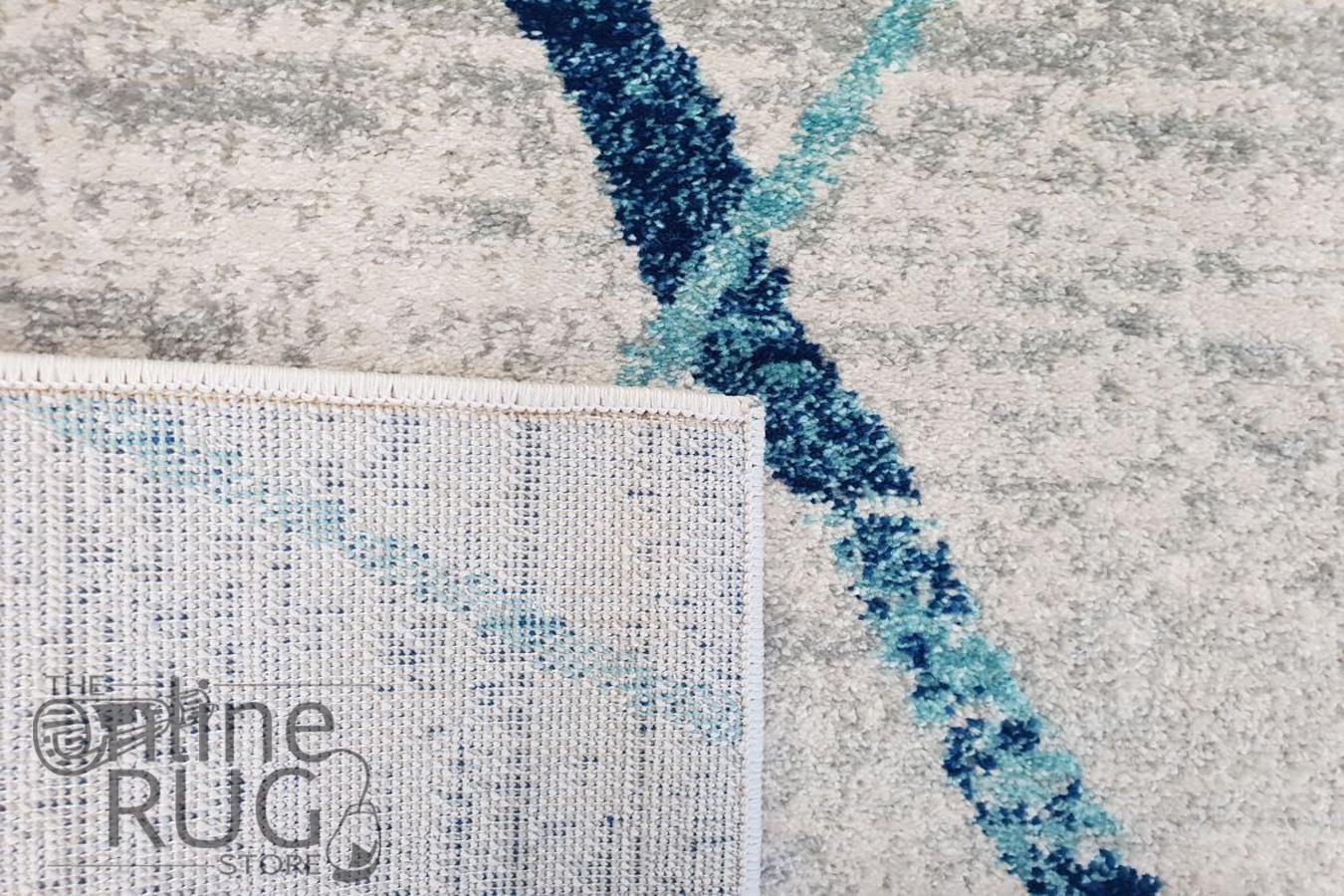 Heaven Blue Grey Abstract Diamond Rug