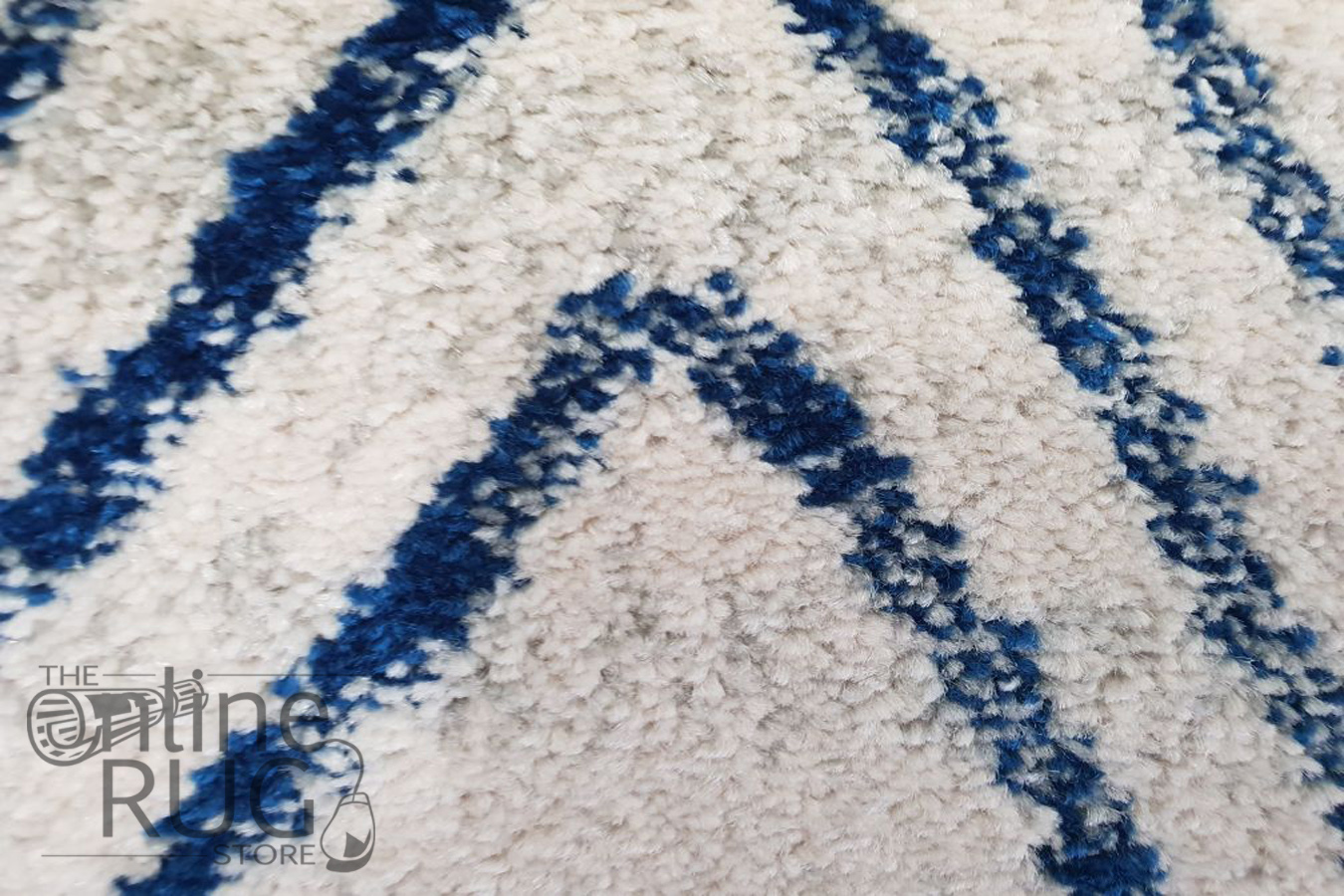 Heaven White Blue Tribal Pattern Rug