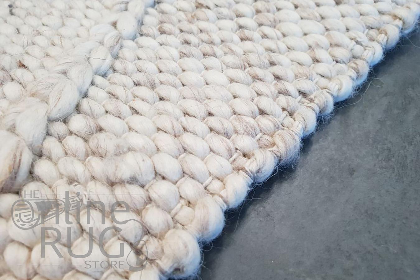 Darcy Diamond Beige Felted Wool Rug