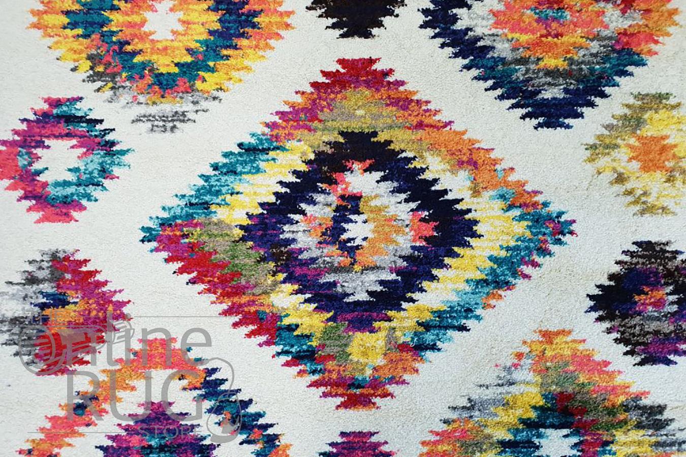 Karsha Cream Multicoloured Geometric Tribal Rug