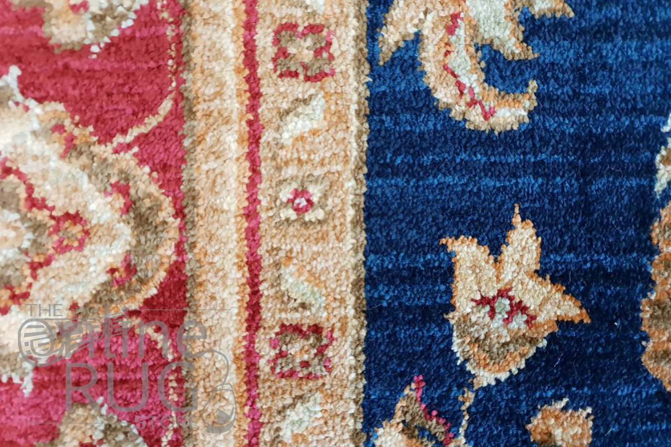 Mahala Navy Blue Red Oriental Traditional Rug