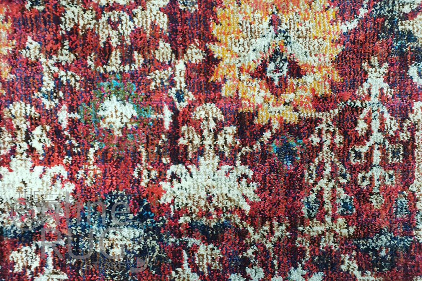Ophelia Red Floral Border Transitional Rug