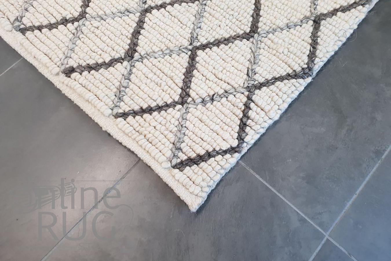 Civic Ivory Diamond Hand Woven Wool Rug