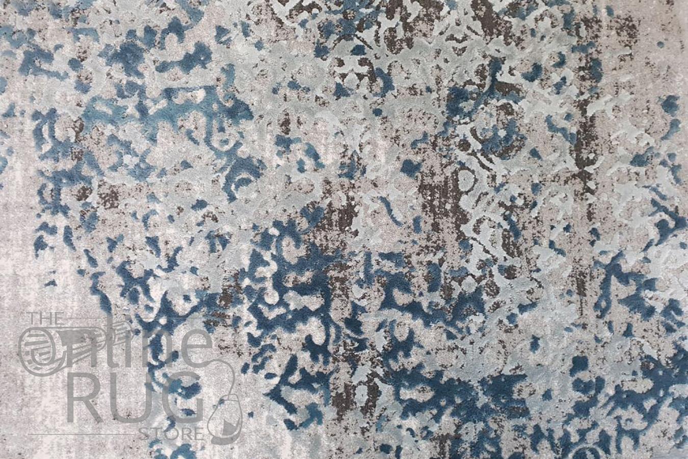 Kenna Blue Grey Abstract Power Loomed Rug