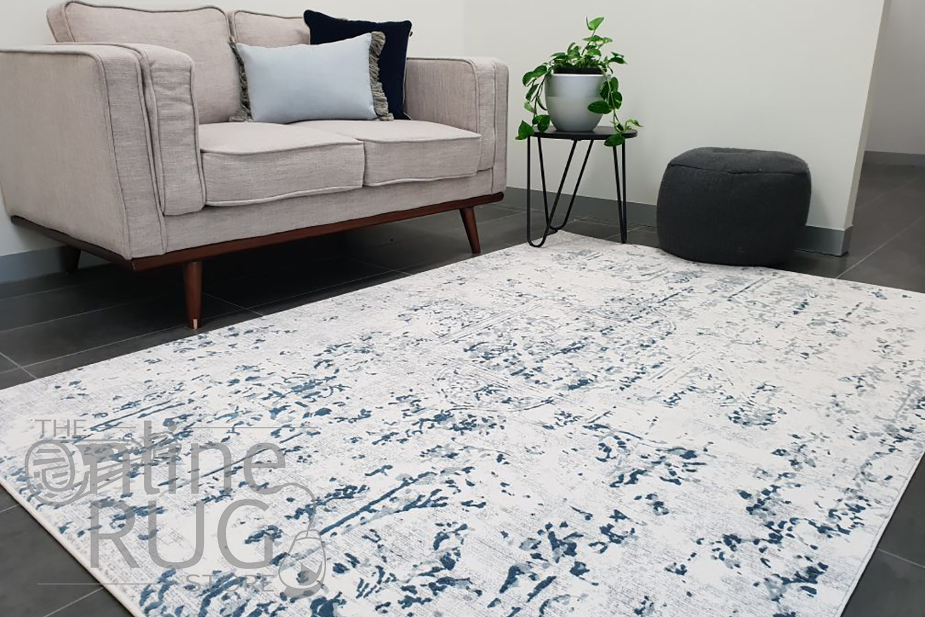 Kenna White Grey Washed Out Abstract Power Loomed Rug
