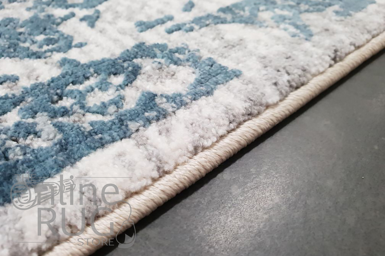 Kenna White Blue Abstract Vintage Power Loomed Rug