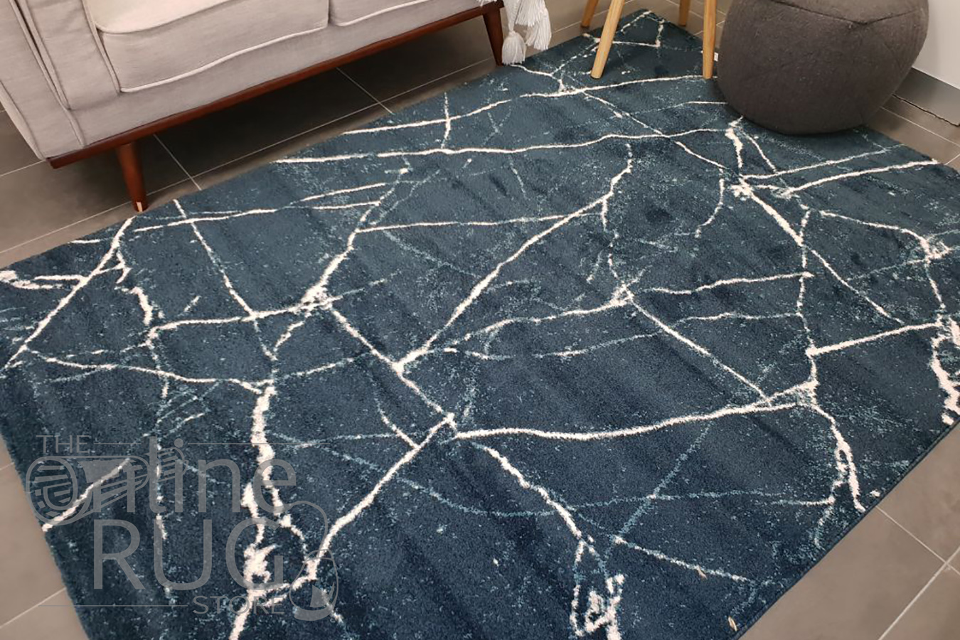 Sienna Navy Blue Abstract Lines Rug