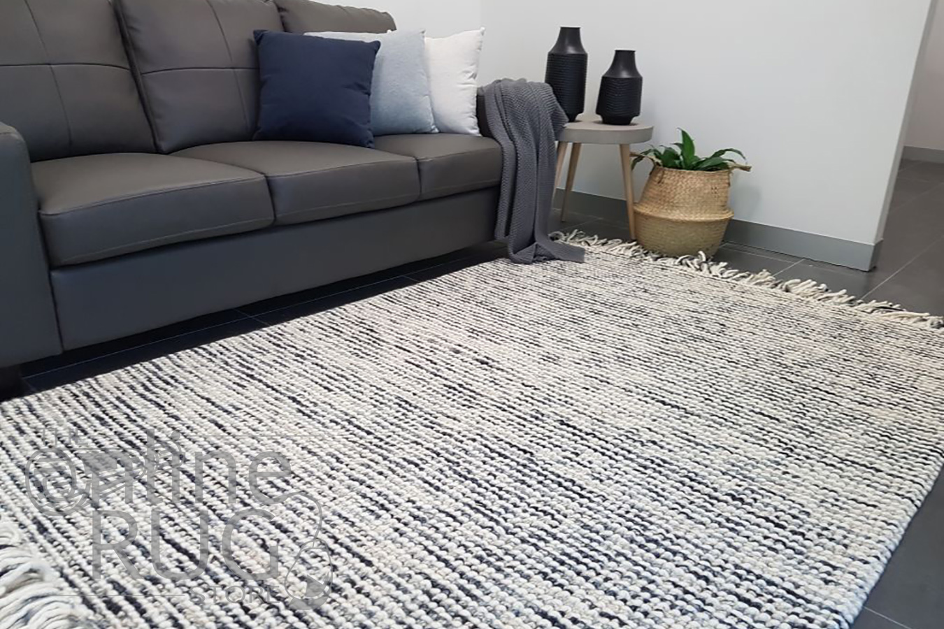 Missy Charcoal Loop Pile Wool Rug