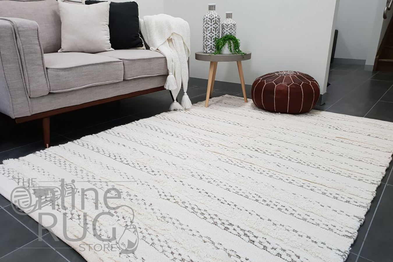 Everly Ivory Natural Textured Boho Rug