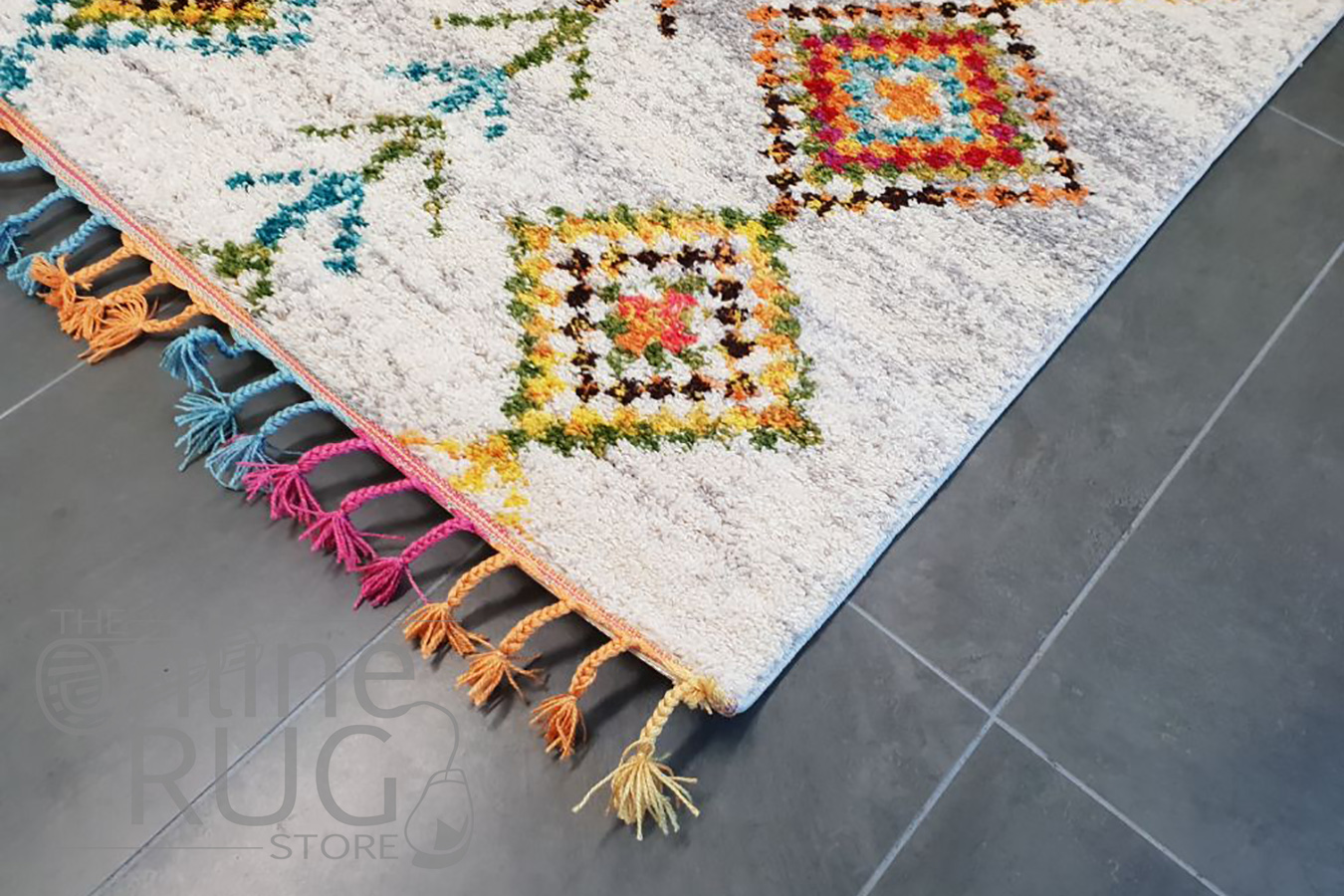 Karsha Cream Multi Coloured Tribal Diamond Rug