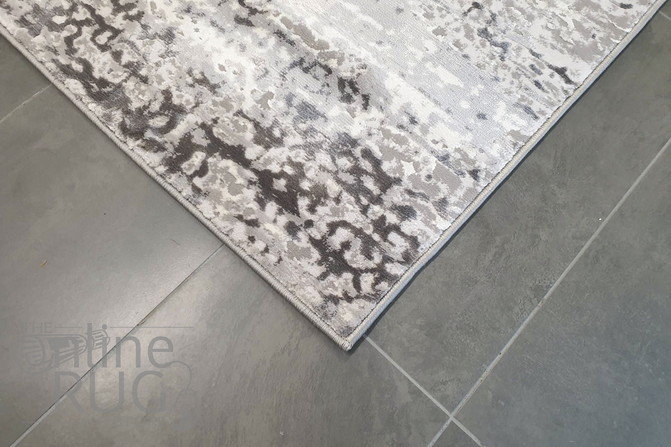Opal Grey Silver Abstract Power Loomed Rug