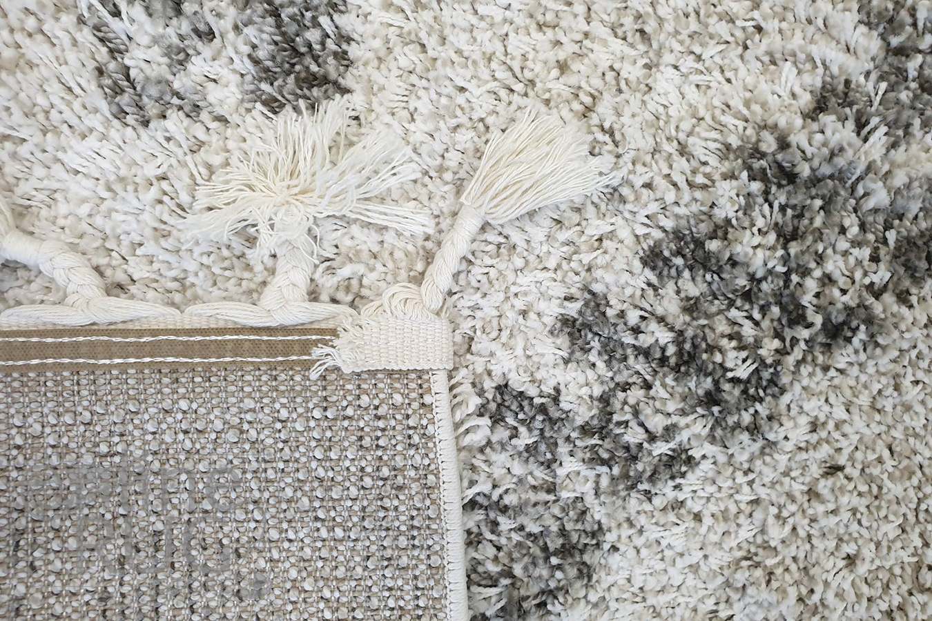 Saffia Natural Ethnic Prints Plush Boho Rug
