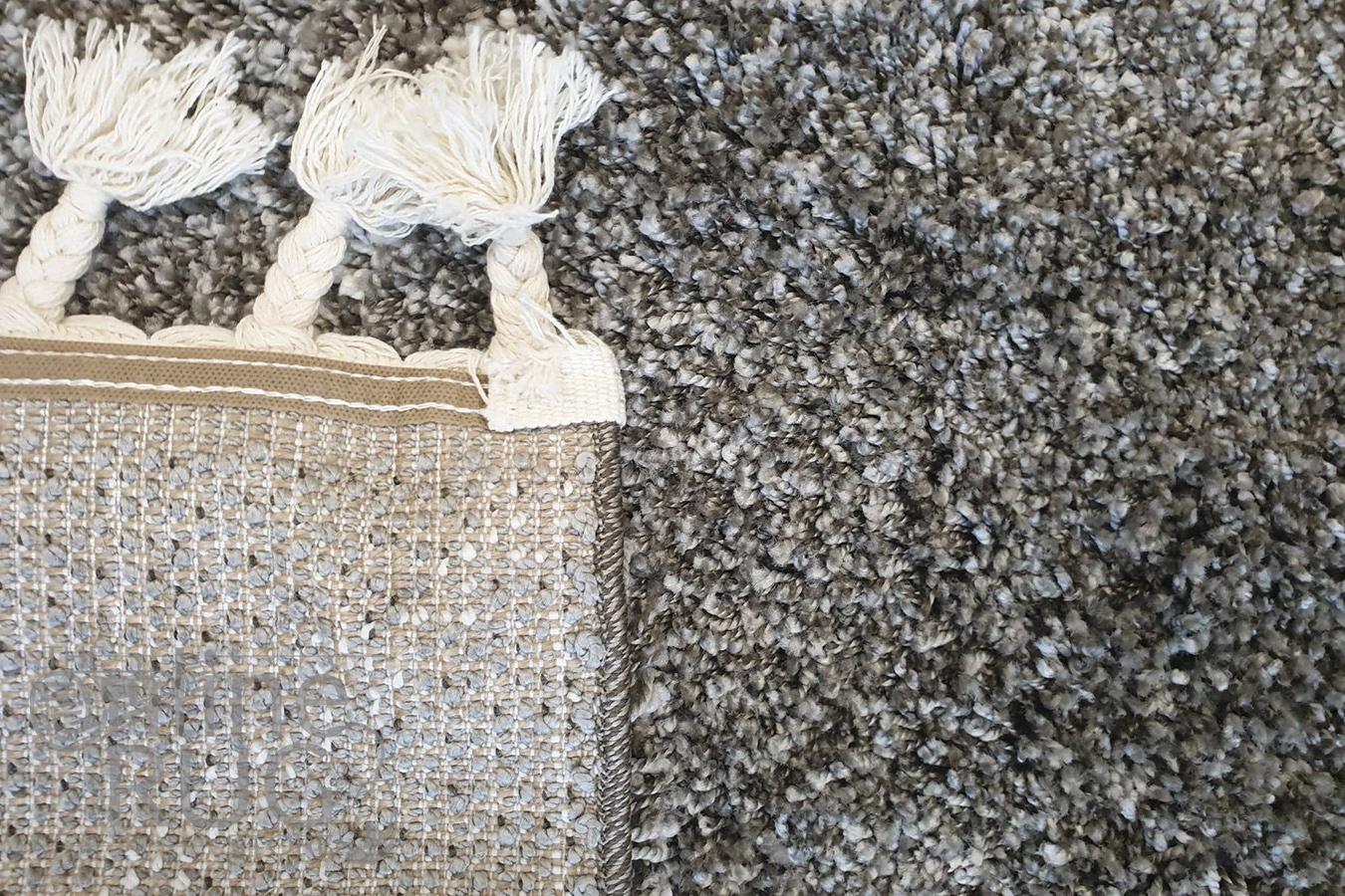 Saffia Natural Grey Diamonds Plush Boho Rug