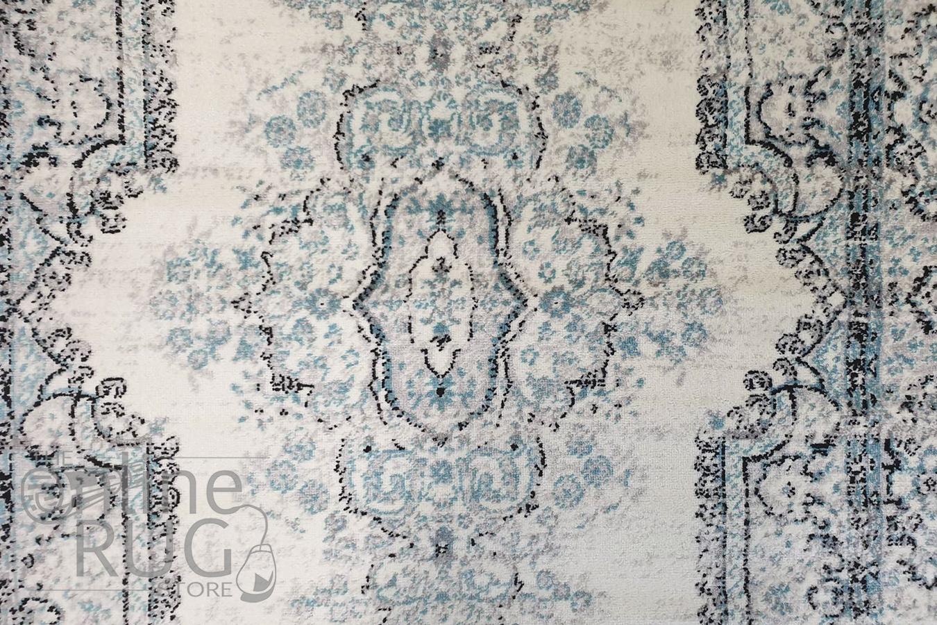 Freedom Grey Blue Medallion Pattern Rug