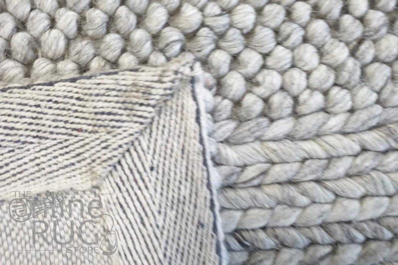Queen Beige Hand Loomed Wool Rug